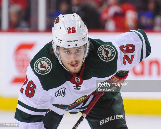 Pontus Aberg of the Minnesota Wild in action against the Calgary Flames during an NHL game at Scotiabank Saddledome on March 2 2019 in Calgary...