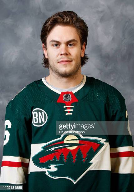 Pontus Aberg of the Minnesota Wild poses for his official headshot for the 20192019 season at Xcel Energy Center on January 19 2019 in St Paul...