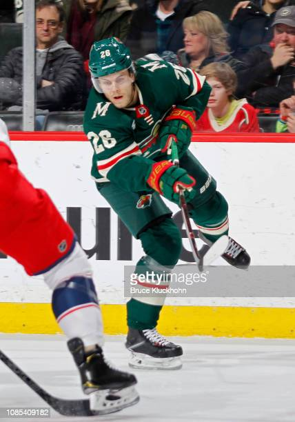 Pontus Aberg of the Minnesota Wild takes a shot on goal during a game with the Columbus Blue Jackets at Xcel Energy Center on January 19 2018 in St...