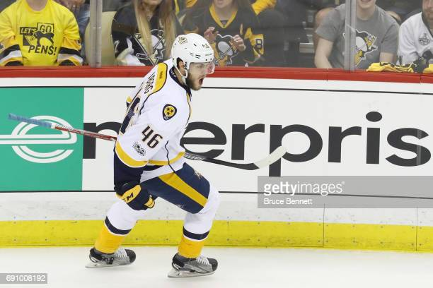 Pontus Aberg of the Nashville Predators reacts after scoring a goal during the first period in Game Two of the 2017 NHL Stanley Cup Final against the...