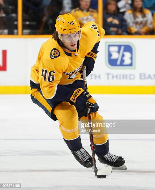 Pontus Aberg of the Nashville Predators skates against the Vegas Golden Knights during an NHL game at Bridgestone Arena on January 16 2018 in...
