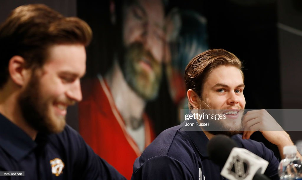 Pontus Aberg #46, right, ad Calle Jarnkrok #19 of the Nashville Predators answer questions during Media Day for the 2017 NHL Stanley Cup Final at PPG Paints Arena on May 28, 2017 in Pittsburgh, Pennsylvania.