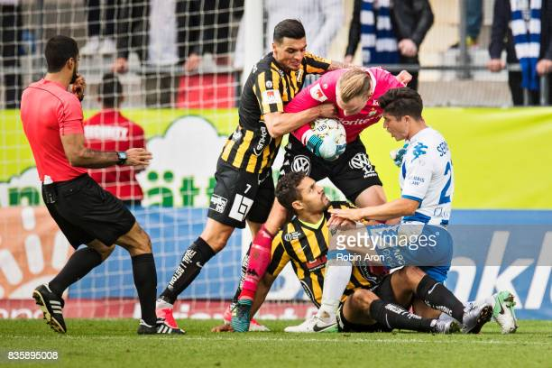 Pontus Dahlberg goalkeeper and David Boo Wiklander of IFK Goteborg and Ahmad Yasin and Mathias Ranegie of BK Hacken is upset and during the...