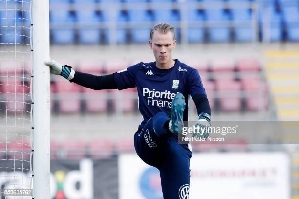 Pontus Dahlberg goalkeeper of IFK Goteborg ahead of the Allsvenskan match between Athletic FC Eskilstuna and IFK Goteborg at Tunavallen on September...