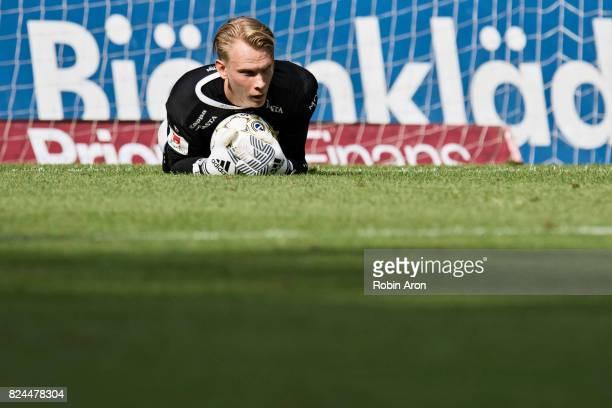 Pontus Dahlberg goalkeeper of IFK Goteborg controls the ball during the Allsvenskan match between IFK Goteborg and IFK Norrkoping at Gamla Ullevi on...