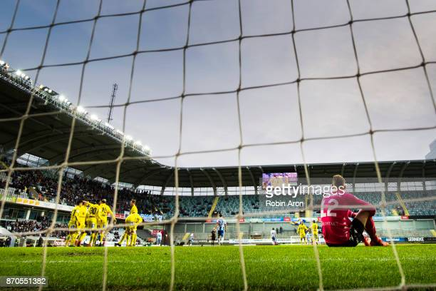 Pontus Dahlberg goalkeeper of IFK Goteborg dejected after David Myrestam of GIF Sundsvall scoring the opening 01 goal during the Allsvenskan match...