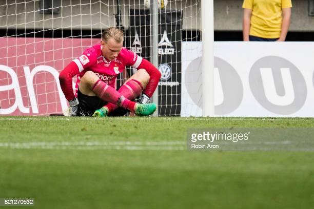 Pontus Dahlberg goalkeeper of IFK Goteborg dejected during the Allsvenskan match between IFK Goteborg and Orebro SK at Gamla Ullevi on July 23 2017...