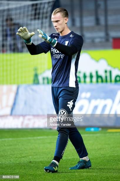 Pontus Dahlberg goalkeeper of IFK Goteborg during warmup prior to the Allsvenskan match between IFK Goteborg and IK Sirius FK at Gamla Ullevi on...