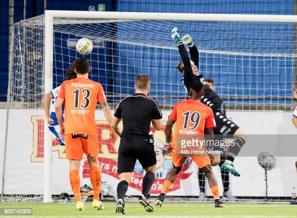 Pontus Dahlberg goalkeeper of IFK Goteborg makes a save during the Allsvenskan match between Athletic FC Eskilstuna and IFK Goteborg at Tunavallen on...
