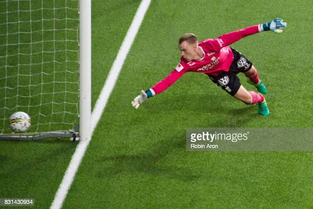 Pontus Dahlberg goalkeeper of IFK Goteborg throws himself to stop the ball during the Allsvenskan match between IF Elfsborg and IFK Goteborg at Boras...