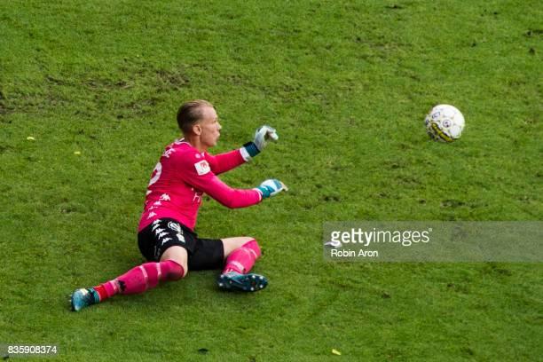 Pontus Dahlberg goalkeeper of IFK Goteborg throws himself to stop the ball during the Allsvenskan match between IFK Goteborg and BK Hacken at Gamla...