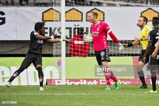 Pontus Dahlberg goalkeeper of IFK Goteborg upset on Kennedy Igboananike of Orebro SK who tried to take the ball from him during the Allsvenskan match...