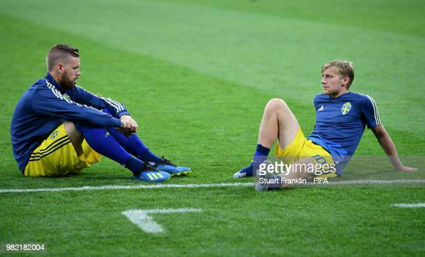 Pontus Jansson and Emil Forsberg of Sweden sit on the pitch dejected following the 2018 FIFA World Cup Russia group F match between Germany and...