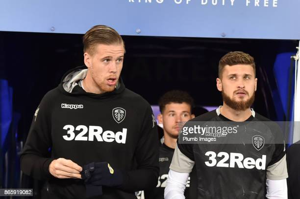 Pontus Jansson and Mateusz Klich of Leeds United ahead of the Carabao Cup fourth round match between Leicester City and Leeds United at The King...