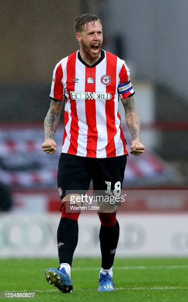 Pontus Jansson of Brentford celebrates after the Sky Bet Championship match between Brentford and Charlton Athletic at Griffin Park on July 07 2020...