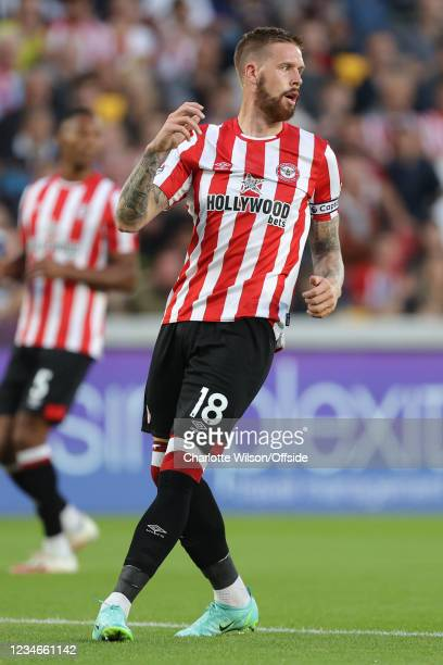 Pontus Jansson of Brentford during the Premier League match between Brentford and Arsenal at Brentford Community Stadium on August 13, 2021 in...