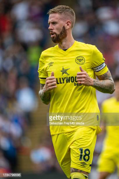 Pontus Jansson of Brentford looks on during the Premier League match between Crystal Palace and Brentford at Selhurst Park on August 21, 2021 in...