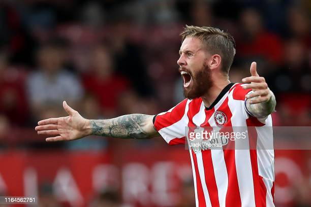 Pontus Jansson of Brentford reacts during the Pre-Season Friendly match between Brentford and AFC Bournemouth at Griffin Park on July 27, 2019 in...