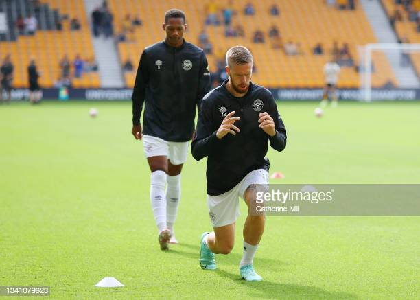 Pontus Jansson of Brentford warms up prior to the Premier League match between Wolverhampton Wanderers and Brentford at Molineux on September 18,...