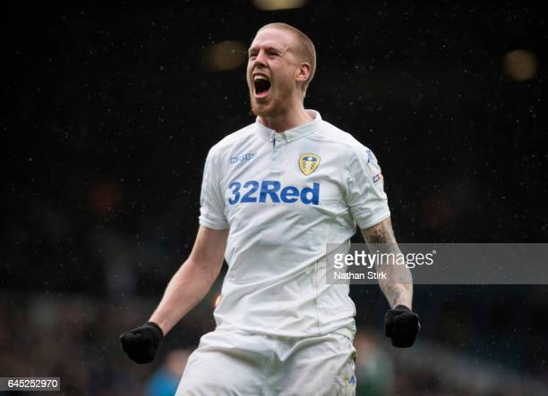 Pontus Jansson of Leeds United celebrates after the Sky Bet Championship match between Leeds United and Sheffield Wednesday at Elland Road on...
