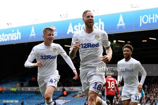 Pontus Jansson of Leeds United celebrates with Jack Clarke and Tyler Roberts scoring the equalising goal to make the score 11 during the Sky Bet...