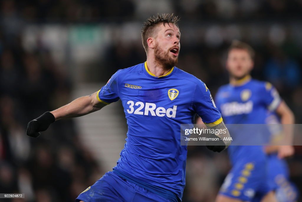 Pontus Jansson of Leeds United during the Sky Bet Championship match between Derby County and Leeds United at iPro Stadium on February 20, 2018 in Derby, England.