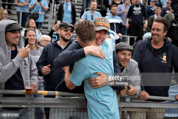 Pontus Jansson of Leeds United FC and Markus Rosenberg of Malmo FF during the Allsvenskan match between Jonkopings Sodra IF and Malmo FF at...
