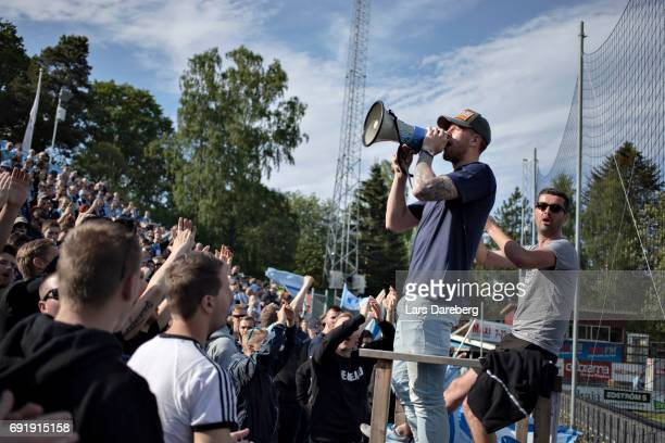 Pontus Jansson of Leeds United FC leading the fans before the Allsvenskan match between Jonkopings Sodra IF and Malmo FF at Stadsparksvallen on June...