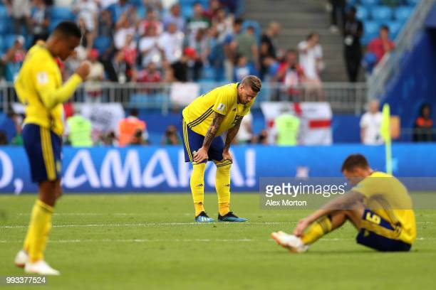 Pontus Jansson of Sweden looks dejected following his sides defeat in the 2018 FIFA World Cup Russia Quarter Final match between Sweden and England...