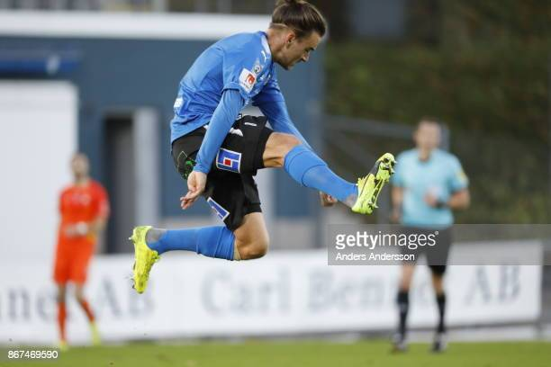 Pontus Silfwer of Halmstad BK during the Allsvenskan match between Halmstad BK and Athletic FC Eskilstuna at Orjans Vall on October 28 2017 in...