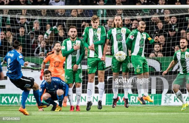 Pontus Silfwer of Halmstad BK shoots a free kick during the Allsvenskan match between Hammarby IF and Halmstad BK at Tele2 Arena on November 5 2017...