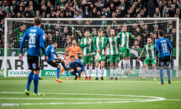 Pontus Silfwer of Halmstad BK shoots during the Allsvenskan match between Hammarby IF and Halmstad BK at Tele2 Arena on November 5 2017 in Stockholm...