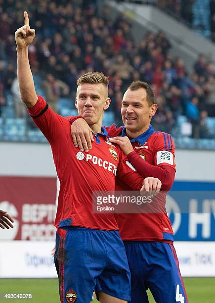 Pontus Wernbloom and Sergei Ignashevich of PFC CSKA Moscow celebrate a goal during the Russian Premier League match between PFC CSKA Moscow and FC...
