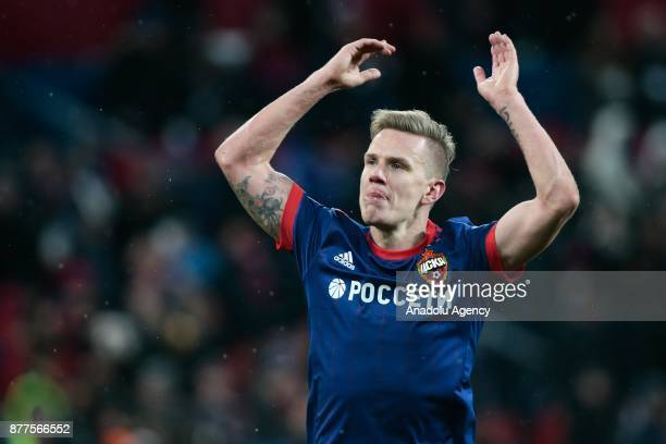 Pontus Wernbloom of CSKA Moscow gestures during the UEFA Champions League Group A soccer match between CSKA Moscow and Benfica at VEB Arena in Moscow...