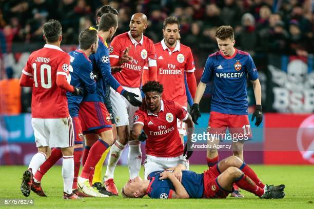 Pontus Wernbloom of CSKA Moscow lays on the ground after getting injured during the UEFA Champions League Group A soccer match between CSKA Moscow...