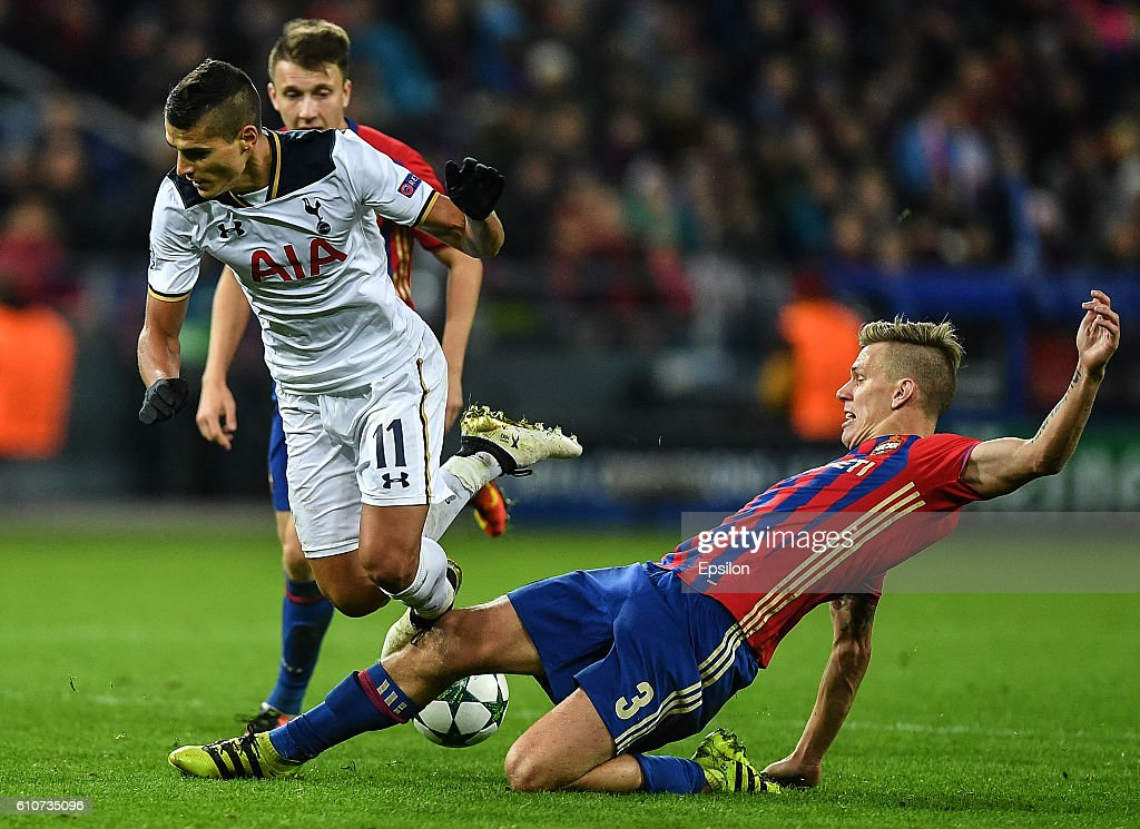 Pontus Wernbloom of CSKA Moscow vies for the ball with Erik Lamela of Tottenham Hotspur FC during the UEFA Champions League match between PFC CSKA Moskva and Tottenham Hotspur FC at the CSKA Arena stadium on September 27, 2016 in Moscow.
