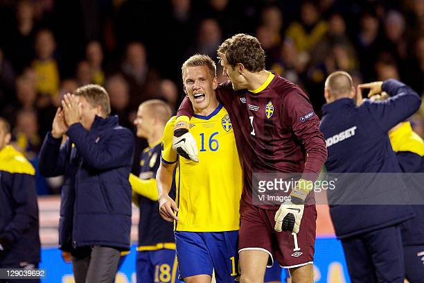 Pontus Wernbloom of Sweden and goalkeeper Andreas Isaksson of Sweden are seend during the EURO 2012 Qualifying match between Sweden and Netherlands...