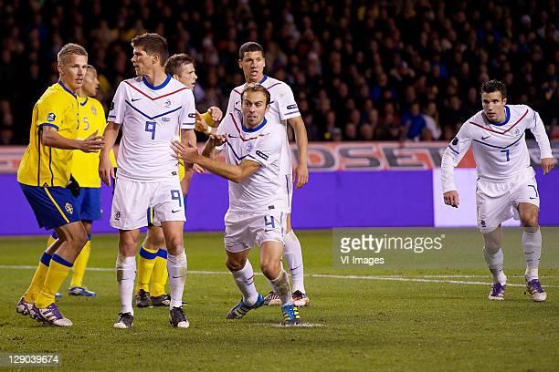 Pontus Wernbloom of Sweden, Klaas Jan Huntelaar of Holland, Joris Mathijsen of Holland, Robin van Persie of Holland during the EURO 2012 Qualifying...