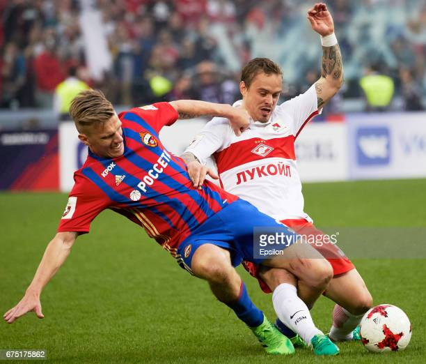 Pontus Wernbloom PFC CSKA Moscow Russian vies for the ball with Andrey Yeshchenko of FC Spartak Moscow during the Russian Premier League match...