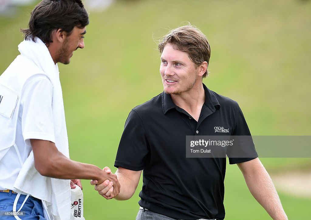 Pontus Widegren of Sweden celebrates after finishing first during day three of the Madeira Islands Open - Portugal - BPI at Club de Golf do Santo da Serra on August 1, 2015 in Funchal, Madeira, Portugal.