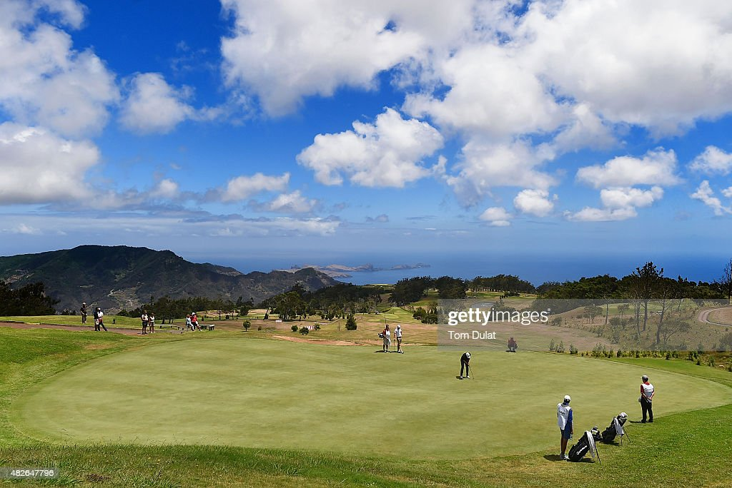 Pontus Widegren of Sweden putts on the 9th green during day three of the Madeira Islands Open - Portugal - BPI at Club de Golf do Santo da Serra on August 1, 2015 in Funchal, Madeira, Portugal.