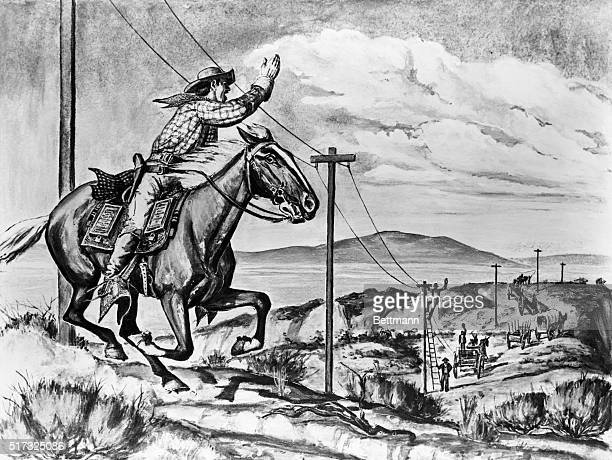 Pony Express rider passes the transcontinental telegraph line under construction The meeting of two epochs of communication 1861 drawing *Oregon...