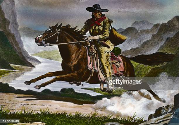 Pony express rider Undated watercolor illustration