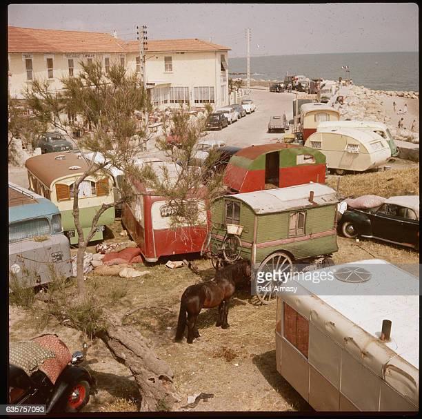 A Pony is Tied to a Gypsy Caravan