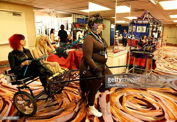 Pony play enthusiast Tindala pulls a cart at the DomConLA convention on May 18 2012 in Los Angeles California DomCon brings together enthusiasts of...