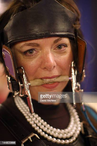 Pony play enthusiast Tindala wear a bridle with her costume at the DomConLA convention on May 18 2012 in Los Angeles California DomCon brings...