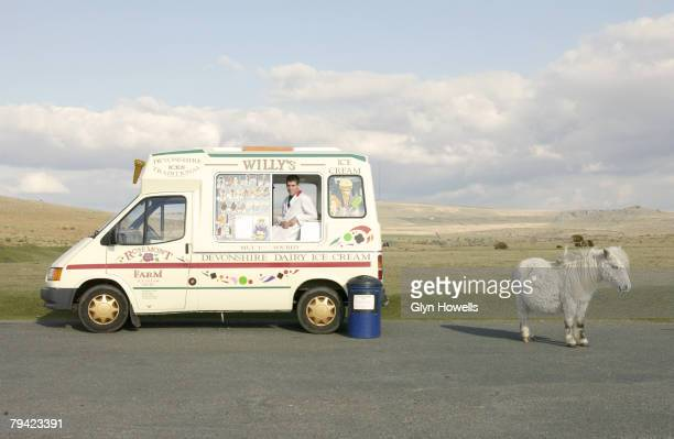 A pony stands next to an ice cream van on Dartmoor circa 2000