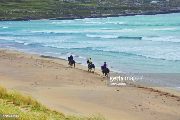 pony trekking, derrynane, ireland. - ring of kerry stock photos and pictures