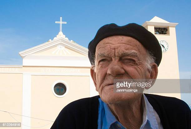 Ponza, Italy: Retired Sailor in Beret, Church in Background
