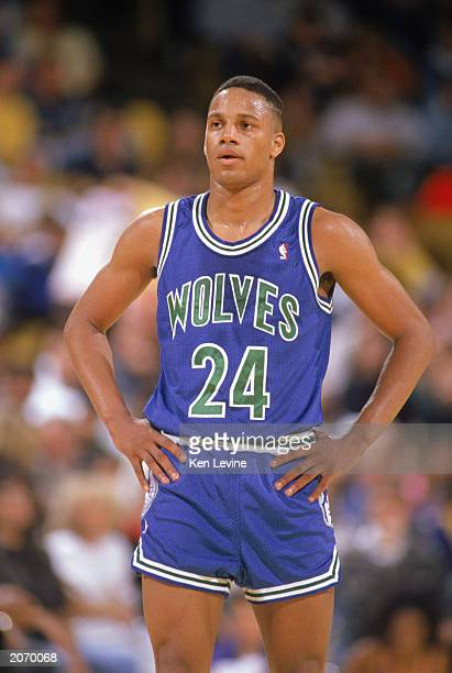 Pooh Richardson of the Minnesota Timberwolves waits for play during a game against the Los Angeles Lakers at the Great Western Forum in Los Angeles...